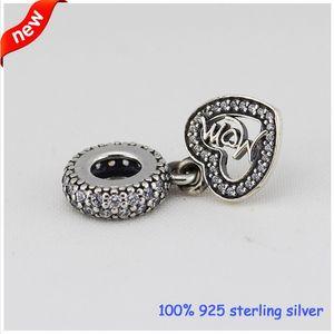Se adapta a las pulseras de Pandora Mum Cuelga cuentas de plata con CZ 2015 Nuevo 100% 925 encantos de la plata esterlina DIY al por mayor 08204