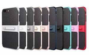 Viajante do telefone móvel shell stent de fibra de carbono 2 em 1 tampa de proteção contra queda para iphone x 8 8 plus 7 7 plus 6/6 s plus 5/5 s s8plus s8plus