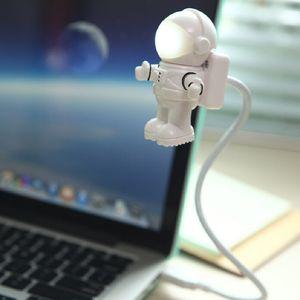 Lámpara LED LEG_73M creativa astronauta astronauta USB LED USB ajustable luz de noche para ordenador PC lámpara creativa flexible