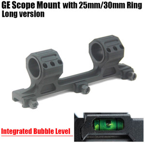 GE Hunting Rifle Scope Mount 25mm / 30mm Anelli AR15 M4 M16 con Bubble Level integrato Fit Weaver Picatinny Rail Long Version Nero