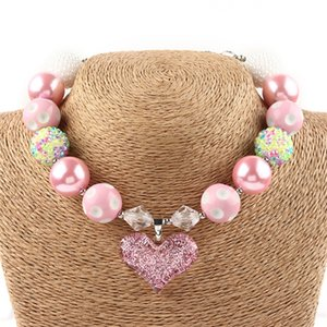 2017 Europe Valentine Chunky Necklace kids toddler pink Heart Pendant Chunky Bubblegum Necklace Girls Jewelry DIY Beads Choker Necklace