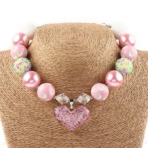 2017 Европа Валентина Чунское ожерелье для детей Детские малыши розовый сердечный кулон кулон для ожерелья для ожерелья для девочек девочек DIY бусины Choker ожерелье