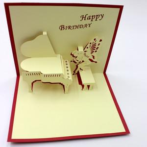 Ручной работы крафт-карты лазерная резка творческий фортепиано музыка открытка 3D бумага скульптура поздравительные открытки день рождения пригласительный билет