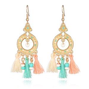 5 Colors Bohemia Ethnic Long Tassels Earrings Fashion Statement Dangle Earrings For Women Jewelry Handmade Fringe Drop Earring