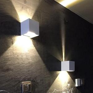 Nueva COB 7W 12W LED de aluminio apliques de la pared ajustable ángulo de la superficie al aire libre montado en la pared del LED Cubo de la lámpara de interior de la lámpara para arriba abajo de luces de la pared