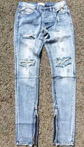Wholesale-Best version fear of god FOG men Selvedge zipper destroyed skinny slim fit justin bieber Vintage ripped blue denim jeans