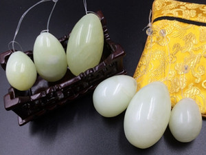 Free shipping Drilled natural jade eggs massage 3pcs set yoni eggs For Face Body Massage kegel exercise