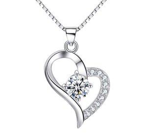 Solide en argent sterling 925 pendentifs en forme de coeur en or blanc plaqué diamant bijoux collier sans chaîne blanc violet
