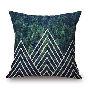 Estilo nórdico amortiguador de la cubierta de 6 estilos ciervos verde del oso Mountain Lake fina ropa de cama Fundas 45X45cm sofá dormitorio Decoración
