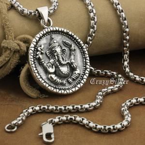 LINSION 925 Sterling Silber Ganesh Hindu Lord God Anhänger Herren Biker Punk Runde Anhänger 8A039 Edelstahl Halskette 24 Zoll