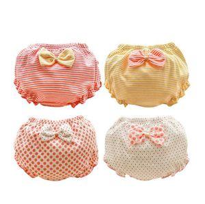 bambini mutandine a strisce cartoon bambini arco bowknot merletti pantaloncini biancheria intima delle neonate Slip Culotte bambini mutande di cotone Carino