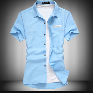 Wholesale- Plus Sizes 6XL(chest 50 inch) Man Shirts New Summer Style Fashion Linen Shirt Larger Size  clothing men shirt camisa social