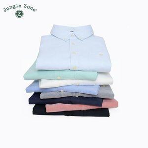Wholesale- JUNGLE ZONE New Camicia casual in tessuto Oxford a maniche lunghe da uomo di alta qualità 100% cotone Camicie da uomo in tinta unita CS100