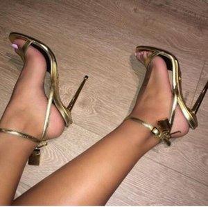2017 sommer lockkey gladiator sandalen shinny leder sperre high heels knöchelriemen partei schuhe offene spitze promi schuhe party gold sandale
