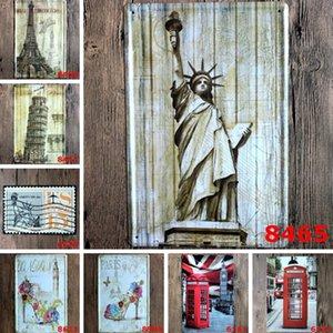 Pintura de la señal Estatua de la libertad Torre Eiffel cabina telefónica Vintage Craft Tin Wall Retro Metal Poster Bar Pub Signs Wall Art Sticker