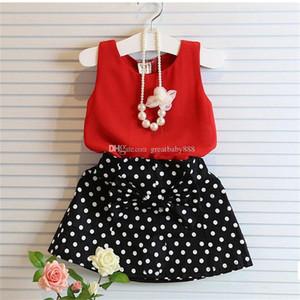 Новые дети новорожденных девочек наряды в горошек шифон топ+точка лук короткая юбка 2шт/комплект дети летний костюм C2429
