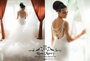 Vestidos de novia bohemios sin espalda de sirena sin respaldo sexy, más el tamaño de lentejuelas rebordear tul blanco estilo griego árabe vestido de novia vestidos de novia