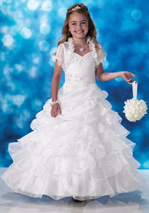 2016 New Elegant Lovely Girl Christmas Princess Compleanno Prom Wedding Ballo Ball Pageant Flower Girl Dress con la giacca