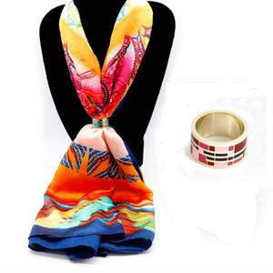 Europäische klassische Schalschnalle verkupfert 18k Gold Farbe Glasur Gitter Mantel Schnalle Mantel Ring Freies Verschiffen