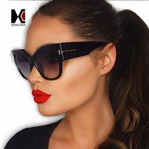 Wholesale- SHAUNA Jahrgang Holzmaserung Katzenaugen-Sonnenbrille Mode-Frauen-Sonnenbrille Männer Shades Maxi-Gläser UV400