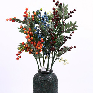 2pcs Multi Color Artificial berry and leaf spray Christmas Season decoration blueberry fruit simulation floral Free Shipping