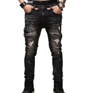 Wholesale- jeans male New fashion robins hole jeans pants men fashion's jeans men Trousers straight pants designer high quality