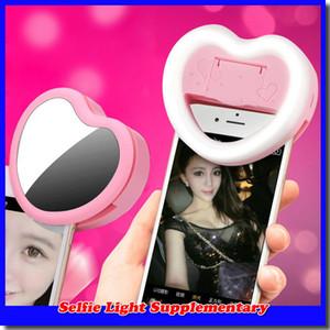 Herz LED Selfie Ring Licht Protable Mini LED Flash CLIP AUF SELFIE RING LIGHT Ergänzende Fotografie Ring Beleuchtung für iPhone 7 Plus