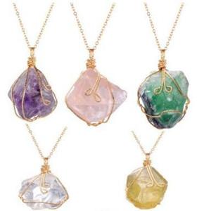 2017 NUEVA Piedra Natural Irregular Azul Púrpura rosa Turquesa Collar de Cristal Ágata Rebanada Colgante Chapado En Oro Collar de Cadena de Joyería aa139