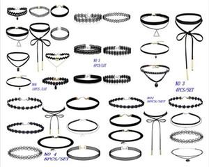 Nouveau PU cuir et corde de dentelle chaîne Collier ras du cou pour les femmes Sautoirs Collier ras du cou Colliers Bib Colar Colliers GY