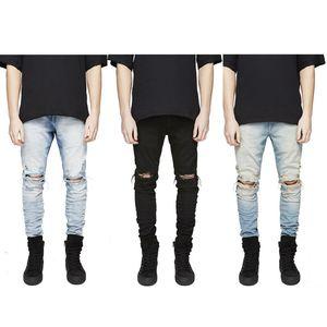 Jeans Slim Fit Strappato Uomo Uomo Hi-Street Mens Denim Denim Joggers Ginocchio Fori lavati Jeans distrutti Plus S