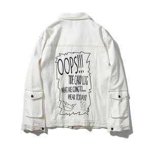 Hip Hop Erkekler Denim Jean Ceketler Graffiti Harfler Baskılı Kaya Sevimli Karikatür Tek Göğüslü Mont Giyim