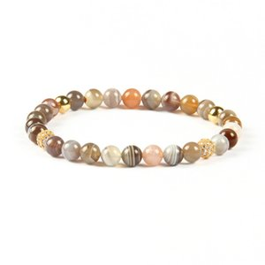 New Fashion Womens Summer Jewelry Wholesale 6mm Natural Botswana Stone Beads With Clear Cz Ball Bracelet