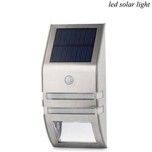 Luz Solar Aço Inoxidável Solar LED Light Sensor infravermelho corpo indução lâmpada 2LED lâmpada Lâmpada de parede exterior PIR