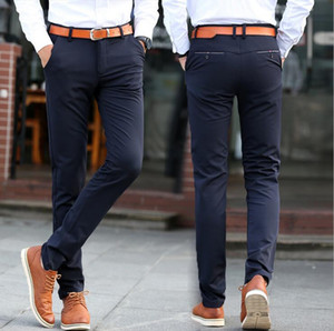 Hot sale Spring and summer stretch male Slim small straight casual trousers PM007 Men's Pants