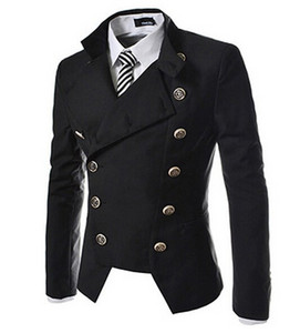 Wholesale- Fashion Suit For Men 2016  New Fashion Double Breasted Men's Blazer Men Slim Business Suit Jackets Free Shipping
