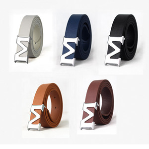 Wholesale M Letter Belts Smooth Buckle Belts For Men Genuine Leather 5 Colors Cinto Belt Designer Casual Belts Men With High Quality