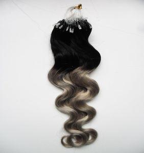 Silber Ombre Körperwelle Mikro Schleife Haarverlängerungen 1g 100s T1b / Grau Rey Ombre Menschenhaar Mikroringverlängerungen
