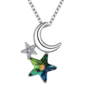 Swa Gelin Yapay elmas kolye Düğün Moda Takı 26282 den Star Moon Kolyeler İçin Kadınlar Kristal