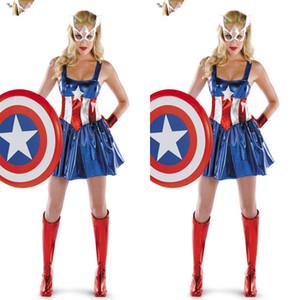 Capitan America Super Heroes Bodysuits Cosplay Halloween Adulto Femmina The Avengers Zentai Teddies veste i costumi di prestazione