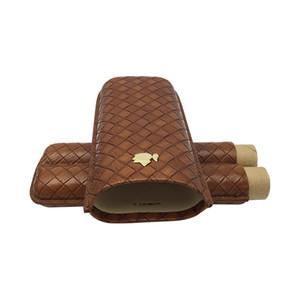 Neueste Zigarren Zubehör Bestseller Zigarette Humidor COHIBA Echtes Leder Reise Braun Rauch Zigarren Humidor ES-CH-079