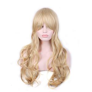 WoodFestival uzun sarışın kıvırcık peruk doğal ucuz saç peruk sarışın fiber sentetik peruk patlama ile kaliteli