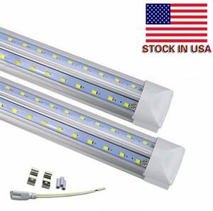 Stock In US + V-Shaped T8 LED Tubes Integrated Cooler Door USA America LED bulbs 4ft 5ft 6ft 8ft LED fluorescent lighting AC85-265V