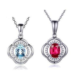 L'Europe et l'Amérique ont coloré des bijoux de pierres précieuses en argent sterling 925 collier de pendentif de fleur de rubis bleu, couleur rouge, 15.74inch, 17.71inch, chaîne de 19.68inch