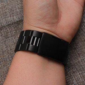 Correa de reloj de tres cuentas con hebilla de un botón lateral correa de reloj de acero inoxidable negro 18mm 20mm 22mm 24mm 26mm 28mm Correa de reloj