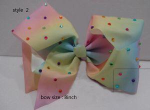 9 نمط متاح 8inch JoJo Siwa Small Pink Blue Ombre Rhinestone Bestie Hair Bows. جديد 10PCS لا ورقة ورقة