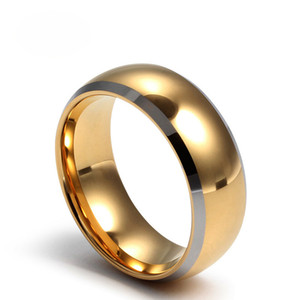 Bulk Wholesale Fashion Men Jewelry New Popular Simple Shiny Tungsten Ring IP Gold Plating Mens Gold Rings With High Quality US Size 7-13