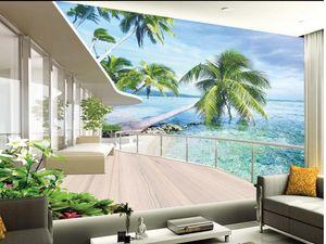 Alta qualità Costom Villa balcone paesaggio a muro per TV sfondo murale 3d carta da parati 3d carta da parati per la tv sullo sfondo