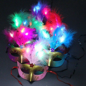 Carino Bella Mini LED Feather Mask Sexy Decorazione di Halloween Veneziana per feste perline Fiore perline Princess Lady Donna Ragazza Kid regalo Bomboniere