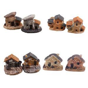 Casa de muñecas Micro Miniatura Decoración Casa de muñecas de piedra Casa de hadas Jardín de la cabaña Paisaje Diseño de bricolaje Artesanías 4 Tipos