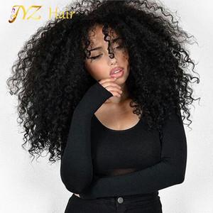 JYZ Peluca rizada rizada del frente del cordón Peluca del pelo humano con el pelo del bebé Pelucas rizadas del pelo humano del cordón lleno peruano para las mujeres negras